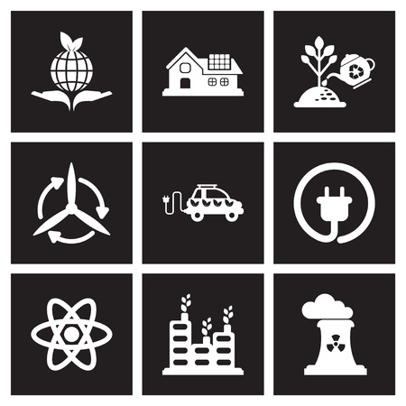 Concept flat icons in black and white ecology