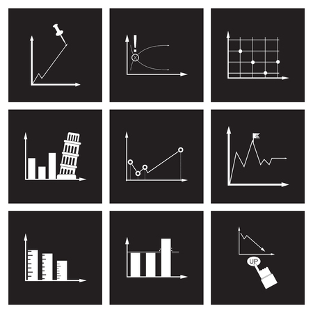 Concept flat icons in black and white infographics Stock Illustratie