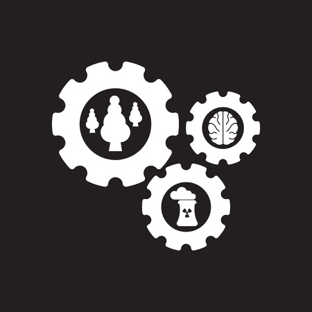 Flat icon in black and white friend ecology