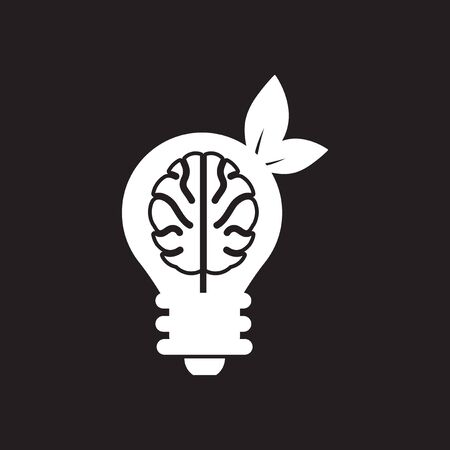 Flat icon in black and white ecological thinking