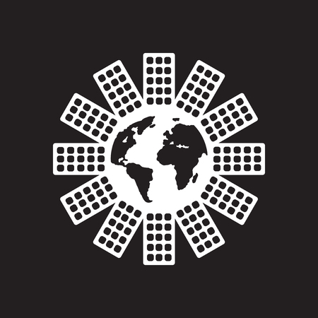 Flat icon in black and white world population
