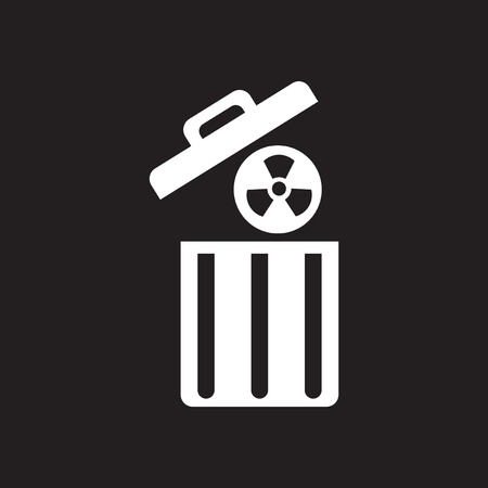 gamma radiation: Flat icon in black and  white radioactive waste Illustration