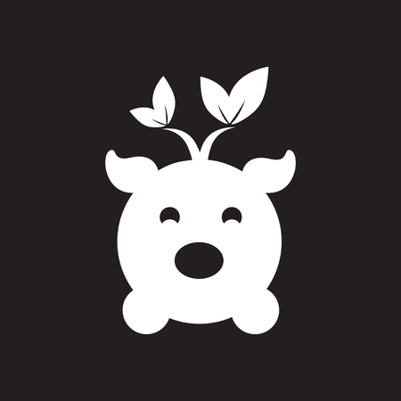 Flat icon in black and white eco pig