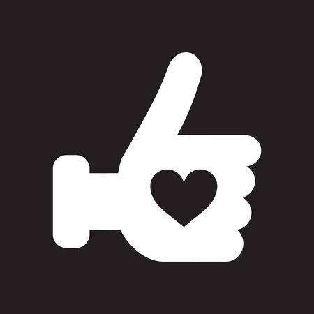 Flat icon in black and white heart hand
