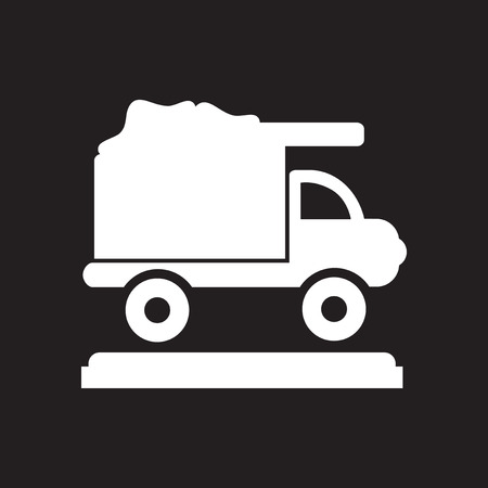 Flat icon in black and  white garbage truck