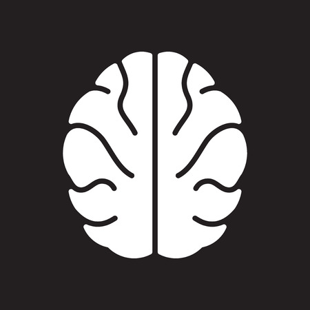Flat icon in black and white human brain