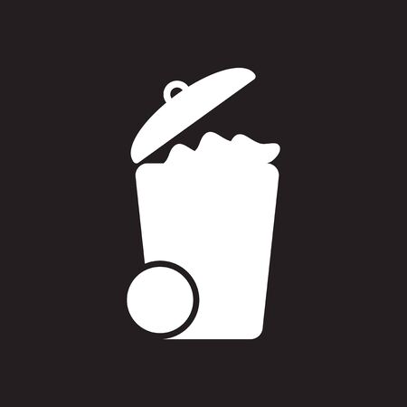 Flat icon in black and  white garbage