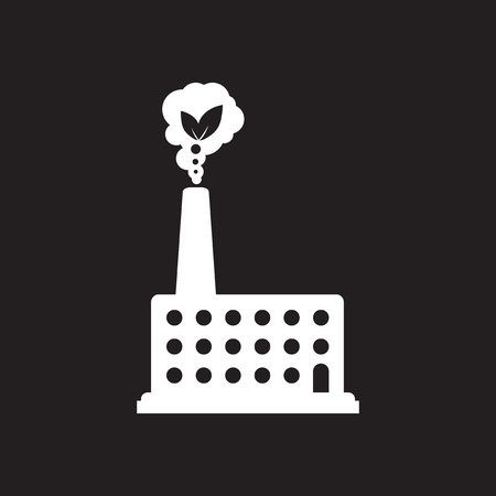 Flat icon in black and  white factory Stockfoto