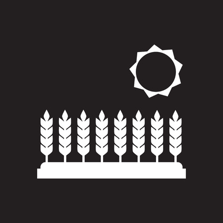 Flat icon in black and  white Wheat field