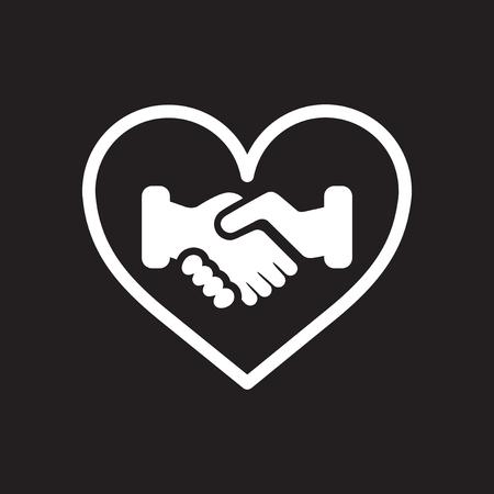 Flat icon in black and  white handshake Stockfoto