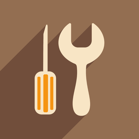 Flat with shadow icon and mobile applacation settings Illustration