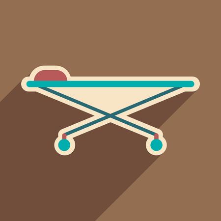 paciente en camilla: Icono de la camilla médica en estilo plano