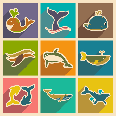 killer waves: Set flat icons with long shadow whales Illustration
