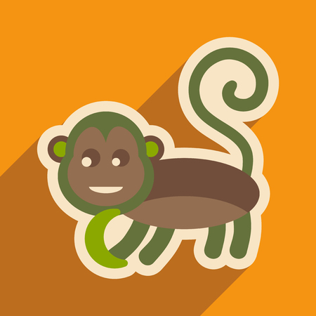 jungle vines: flat icon with long shadow monkey with bananas Illustration