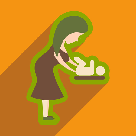 flat icon with long shadow mother and child Illustration