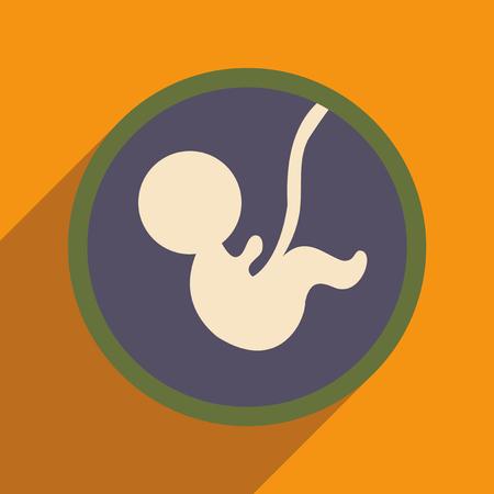 vlakke icoon met lange schaduw kind in de baarmoeder Stock Illustratie