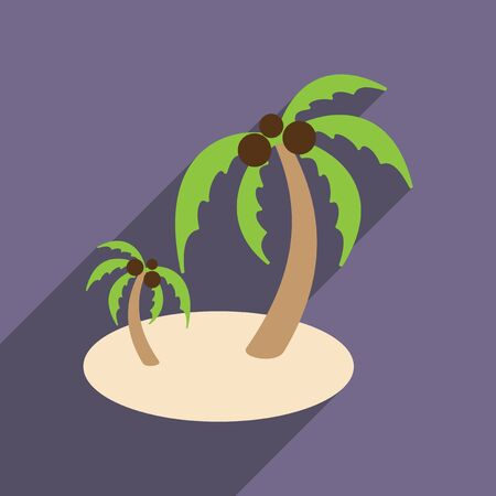 Modern flat icon with long shadow Indian palms