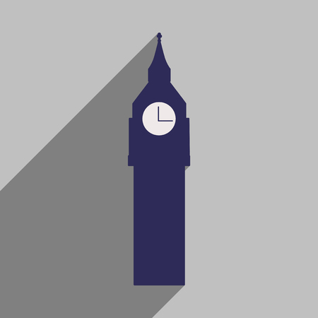english culture: flat icon with long shadow big Ben