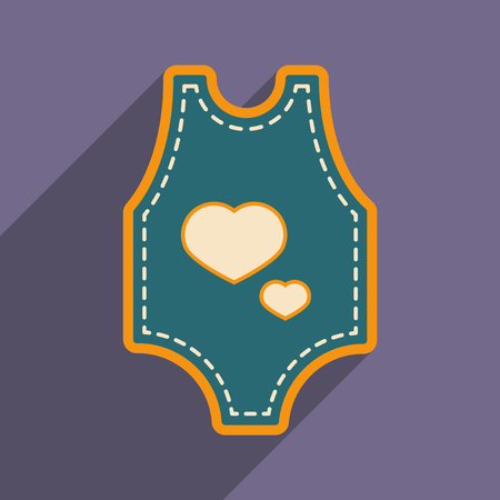 Modern flat icon with long shadow baby clothes