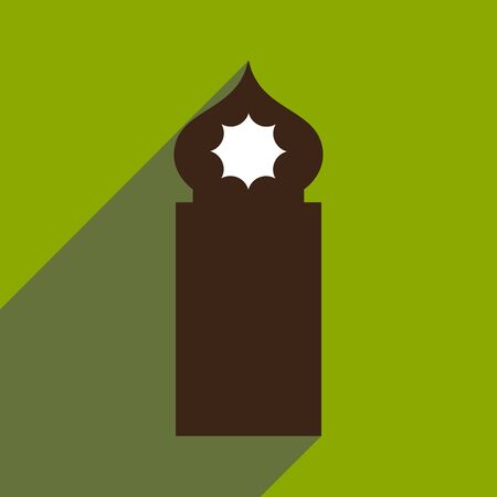 minaret: flat icon with long shadow Arab tower