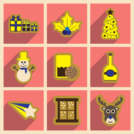 christmas cookie: Set of flat icons with long shadow Christmas