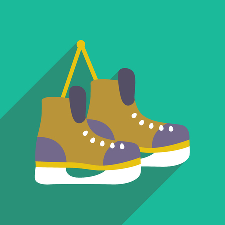 flat icon with long shadow pair of skates