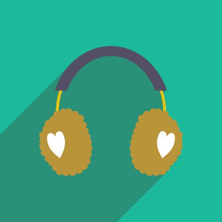 flat icon with long shadow earmuffs hearts