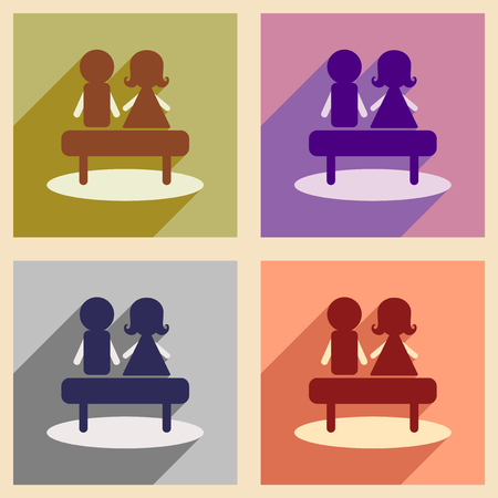 Set flat web icons with long shadow man woman bench Illustration