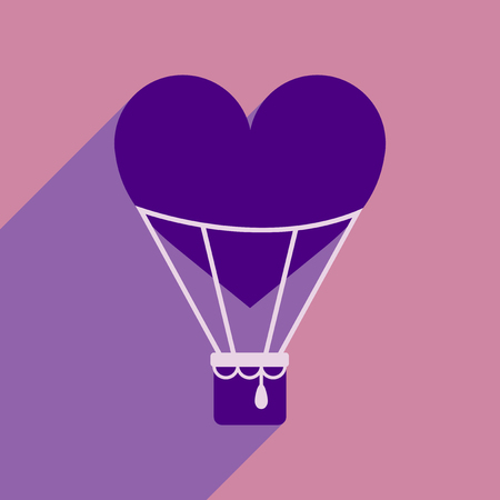 Flat web icon with long shadow air balloon heart