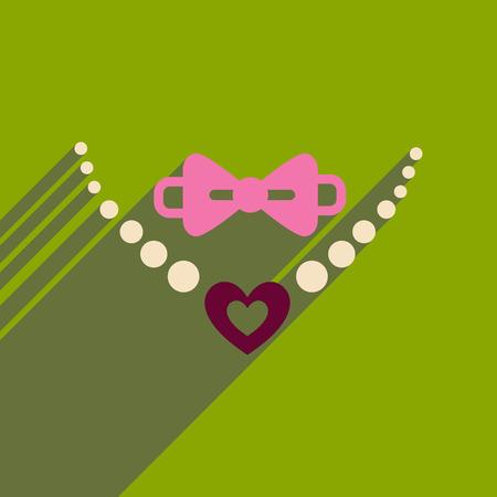 長い影のネックレスとネクタイにフラットの web アイコン  イラスト・ベクター素材