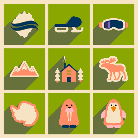 antarctica: Set of flat web icons with long shadow Arctic Illustration