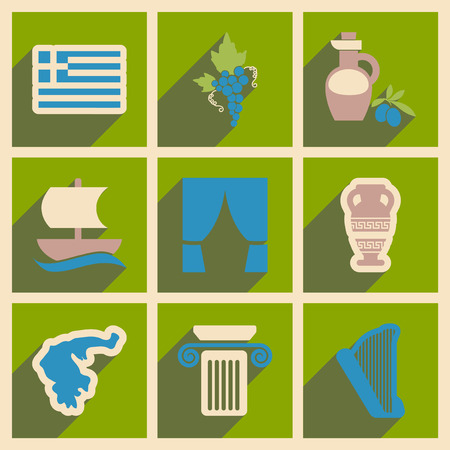 Set of flat web icons with long shadow Greece Vetores