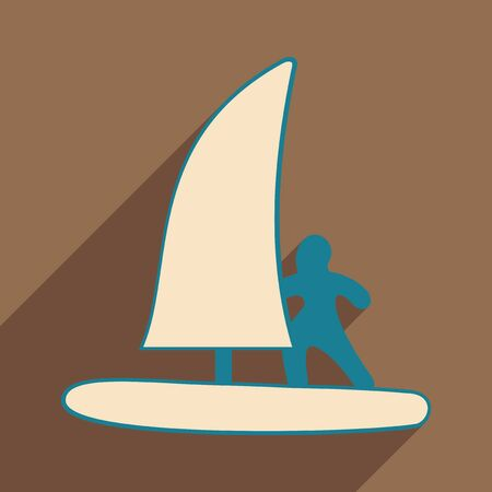 Flat with shadow icon and mobile applacation windsurfing Stock Illustratie