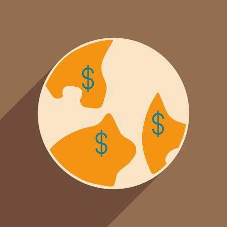 mapa de procesos: Plana con el icono de la sombra y el dólar applacation móvil en el mundo Vectores