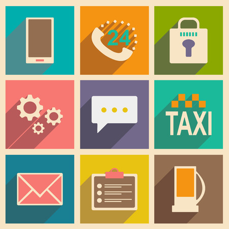 Flat met schaduwconcept en pictogrammen van de mobiele toepassingsdienst Stockfoto - 75390352