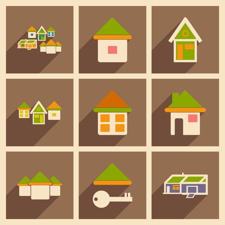 Flat met schaduwconcept en mobiele applicatie huizen iconen Stockfoto - 75390364