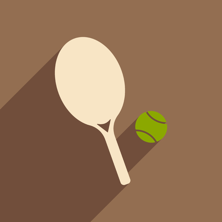 Flat with shadow icon and mobile applacation tennis