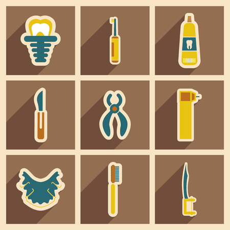 Icons of assembly stomatology in flat style Иллюстрация