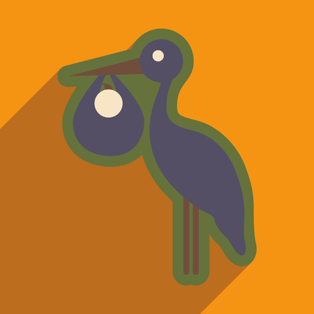 flat icon with long shadow Stork and newborn baby Illustration