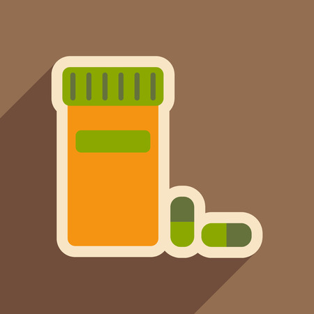 Icon of bottle of pills in flat style
