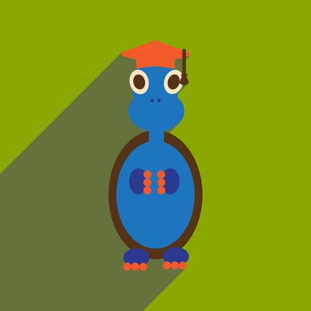 flat icon with long shadow turtle cartoon