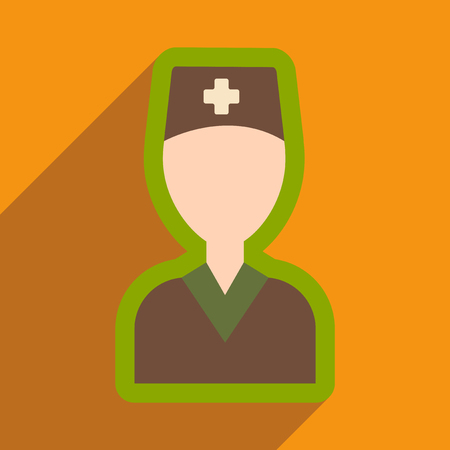 trainee: flat icon with long shadow obstetrician doctor
