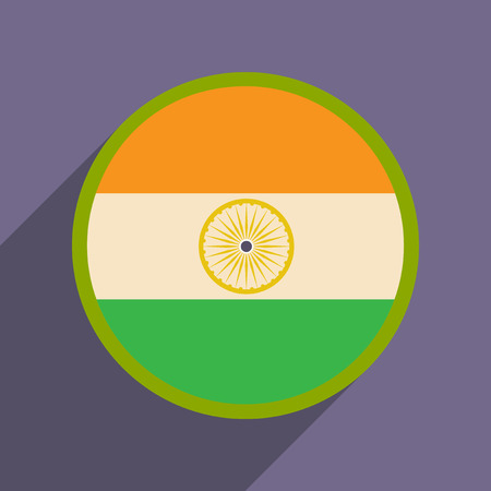 india culture: Modern flat icon with long shadow flag of India Illustration