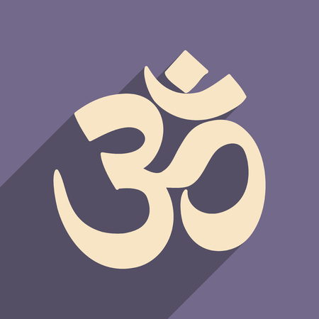 east indian: Modern flat icon with long shadow Indian om sign
