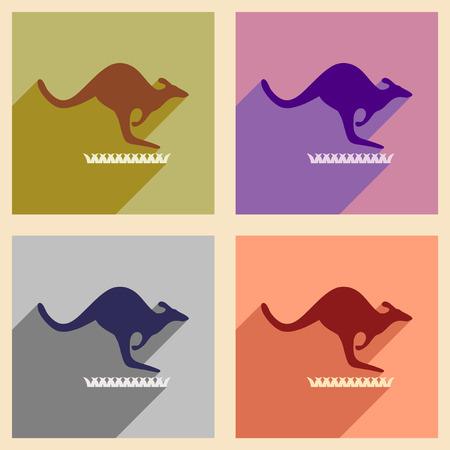 wallaby: Set of flat icons with long shadow Australian kangaroo Illustration