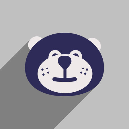 flat icon with long shadow Canadian beaver