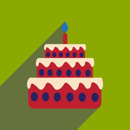 chocolate swirl: flat icon with long shadow birthday cake