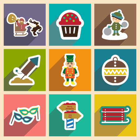 christmas cake: Set flat icons with long shadow New Years and Christmas Illustration