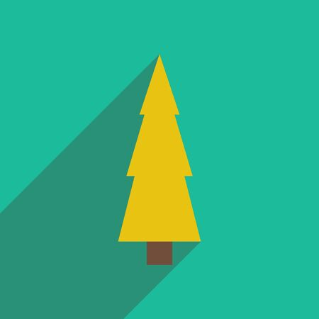 detailed image: flat icon with long shadow Christmas tree