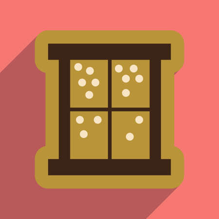 flat icon with long shadow snow outside the window Illustration